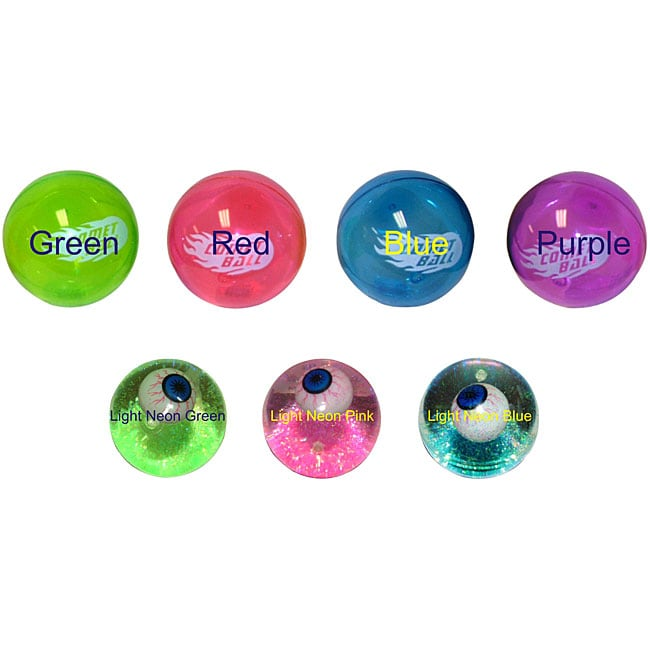 "2.5"" Eyeball Light-up Glitter and 4"" Comet Bouncing Balls (Pack of 4)"