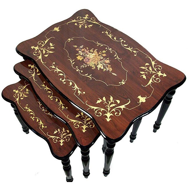 Sorrento Italian Style Inlaid Wood Nesting Table Set