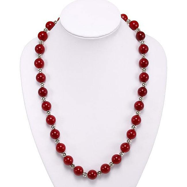 Silver Carnelian Agate Floral Bead Necklace (Thailand)