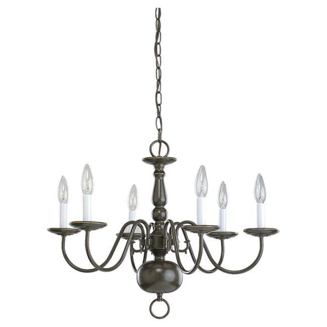 Traditional Heirloom Bronze 6-light Chandelier