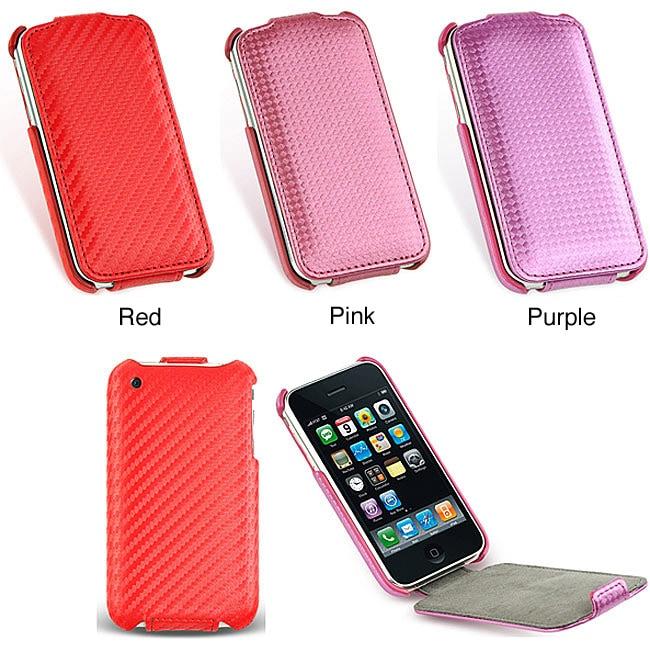 Iphone 3G 3GS Carbon Fiber Leather Pouch Case