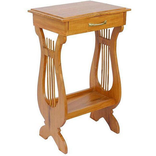 Shop Hand Carved Victorian Harp Teak Wood End Table