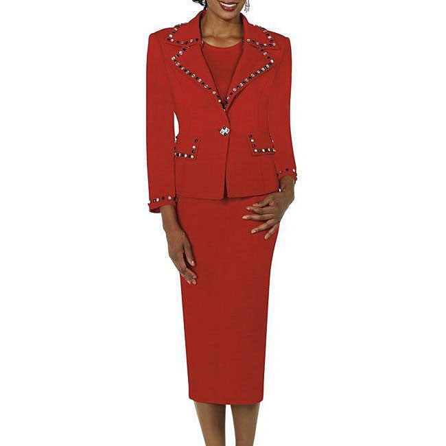 Todd & Olivia Women's Red Rhinestone Embellished Skirt Suit