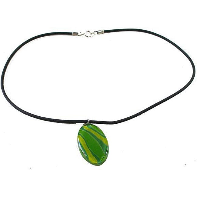 Green Zebra Fused Glass Necklace (Chile)