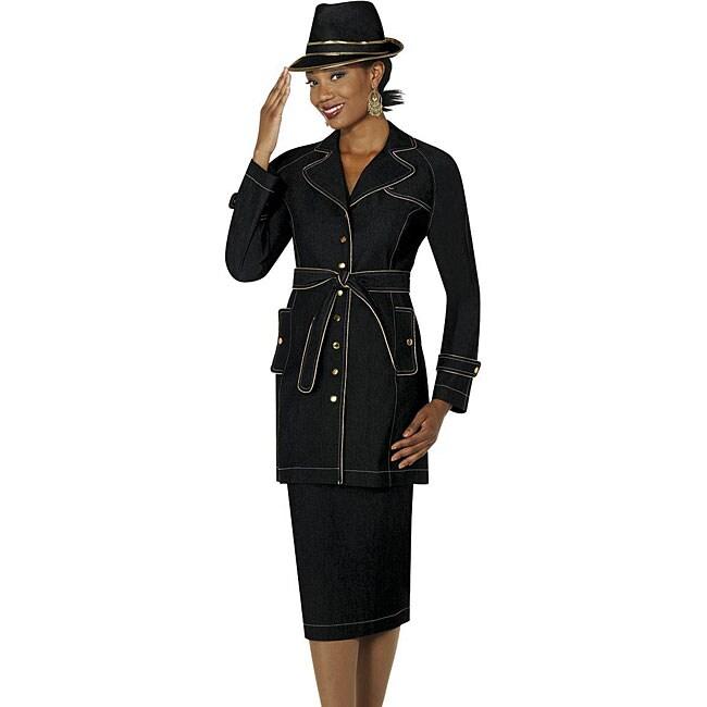 Divine Denim Women's Skirt Suit with Waist Tie Belt - Free ...