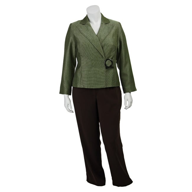 Shop Isabella Women S Plus Size Buckle Detail Pant Suit Free