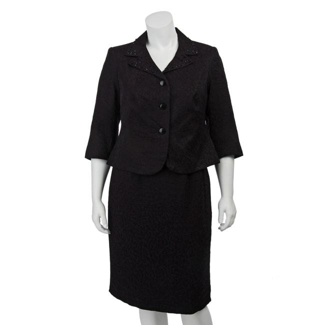 Isabella Women's Plus Size Jacquard Skirt Suit