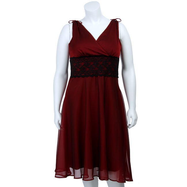 Shop Connected Apparel Womens Plus Size Red Black Chiffon Dress
