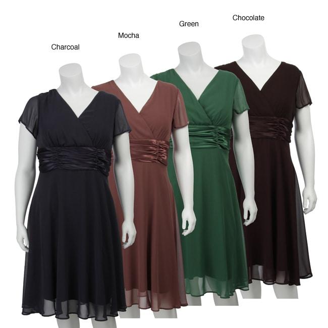 Connected Apparel Women's Plus Size Chiffon Dress