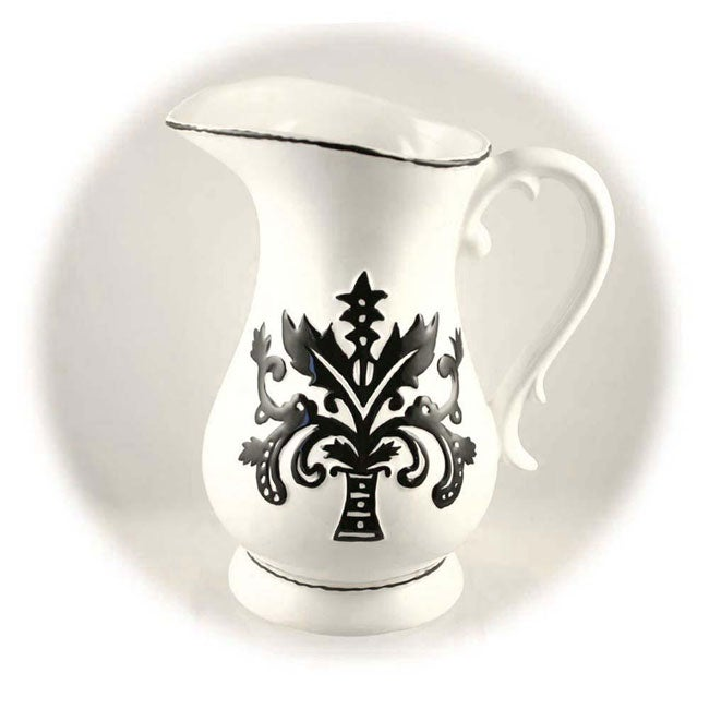 Hand-painted Black and White Water Pitcher