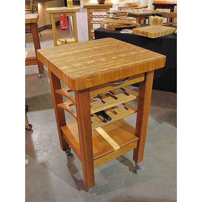 Shop Simple Living Rolling Galvin Microwave Cart: Shop Handcrafted Plantation Grown Teak Kitchen Cart With