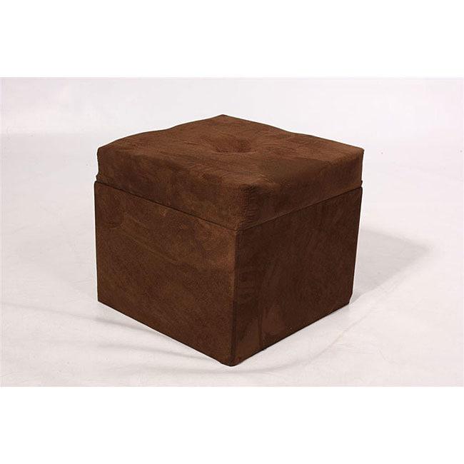 Storage Cube Chocolate Brown Microfiber Ottoman Free