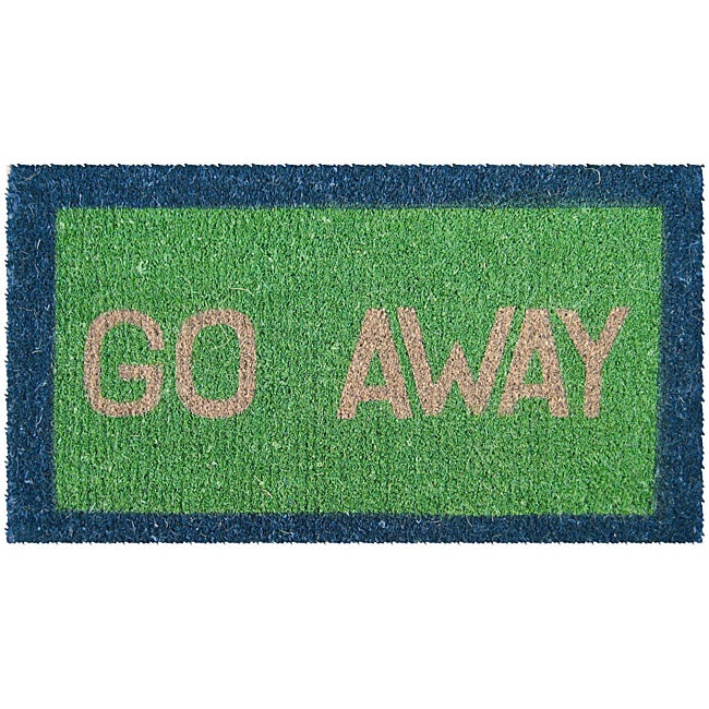 Green 'Go Away' Hand Woven Coir Doormat 18' x 30'