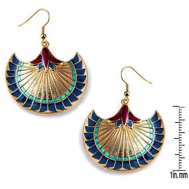 Multicolored Pewter Egyptian Papyrus Earrings with Shepherd's Hook