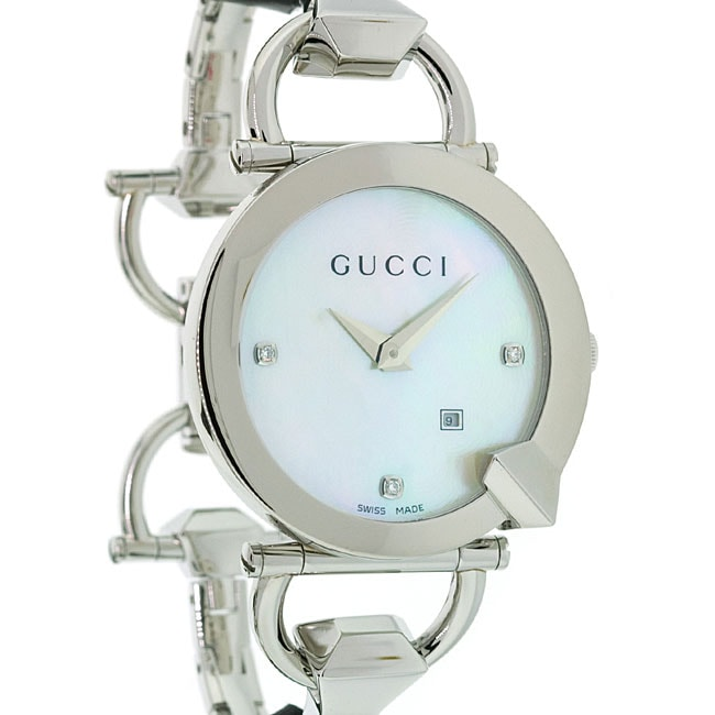 9981b47a69a Shop Gucci Women s Chiodo Stainless Steel Link Bracelet Watch - Free  Shipping Today - Overstock - 4305177