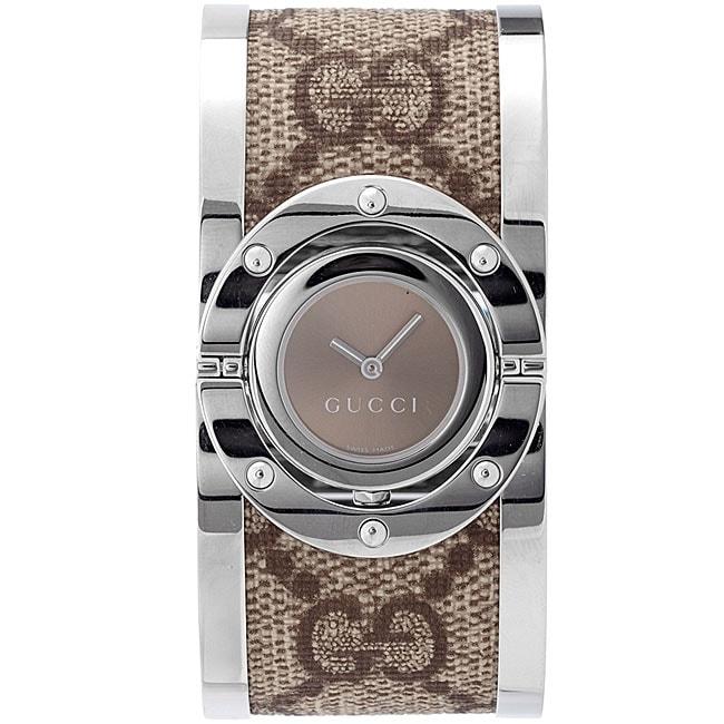 Gucci Women's YA112425 'Twirl' Medium Beige and Ebony GG Plus Bangle Watch
