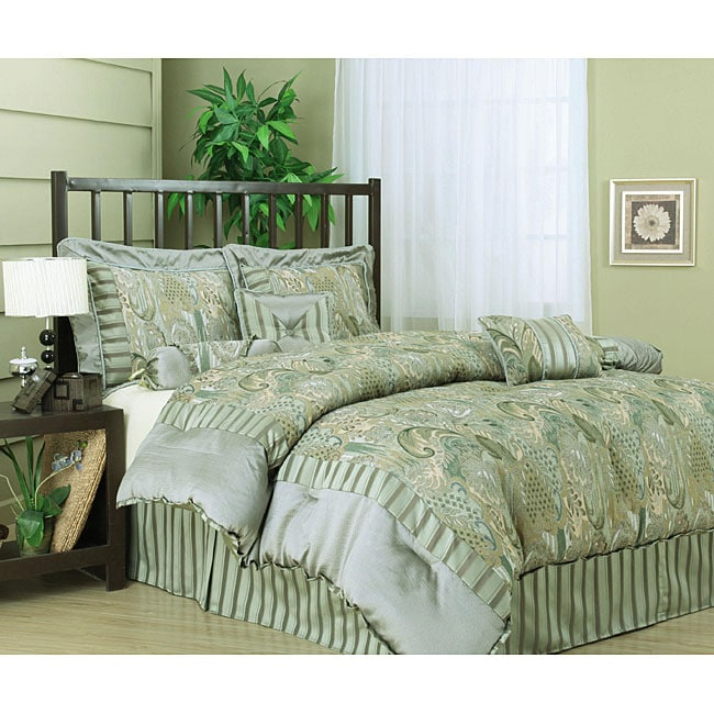 Andrea Deluxe 7-piece Light Green Comforter Set - Thumbnail 0