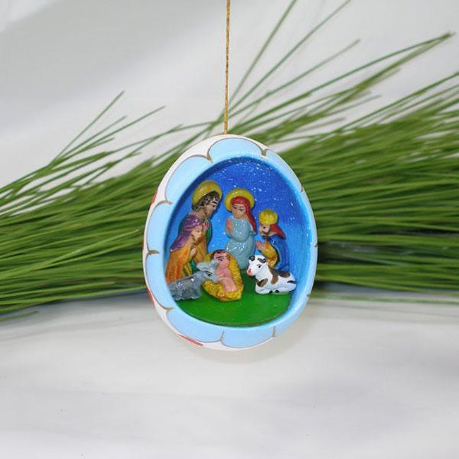 Ceramic Blue Nativity Egg Ornament (Peru)