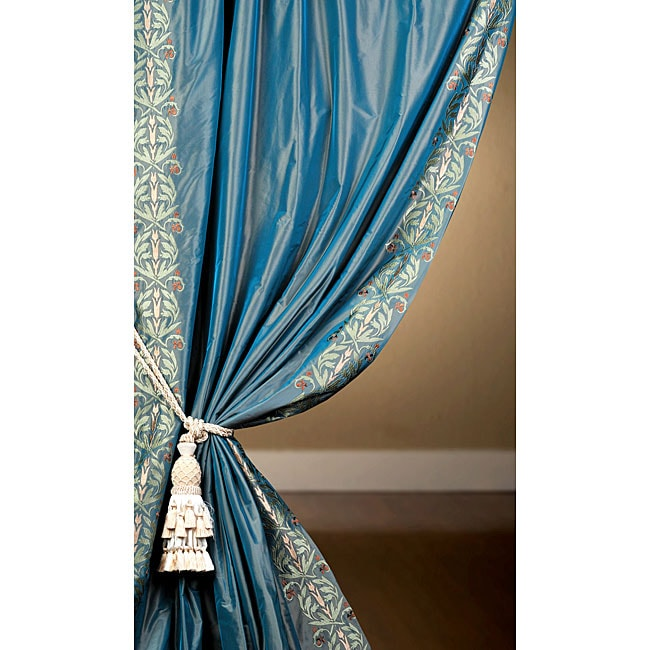 Signature Embroidered Blue Faux Silk Taffeta 108 Inch