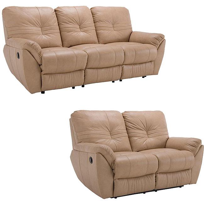 Gentil Dakota Beige Reclining Leather Sofa And Leather Loveseat