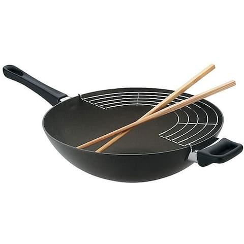 Scanpan 12.5-inch Wok with Rack and Chop Sticks