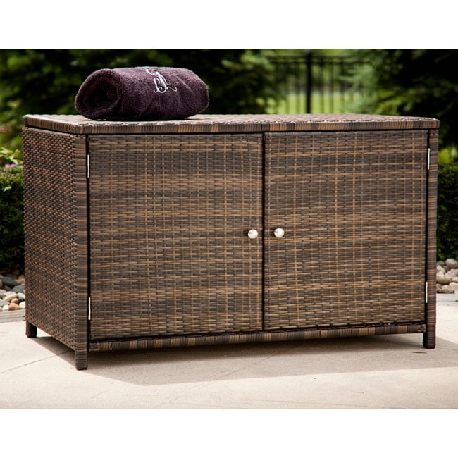 Espresso Wicker Outdoor Storage Cabinet