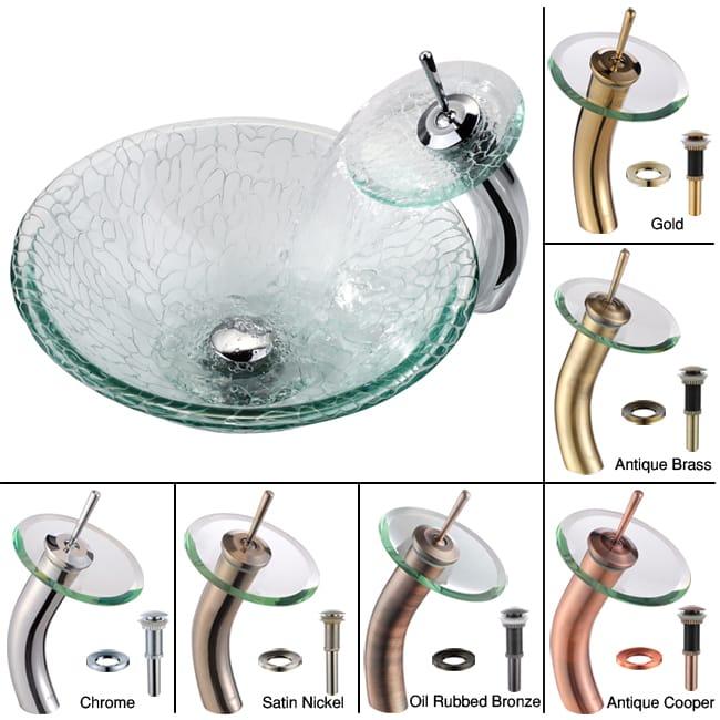 Kraus Broken Glass Vessel Sink and Waterfall Faucet