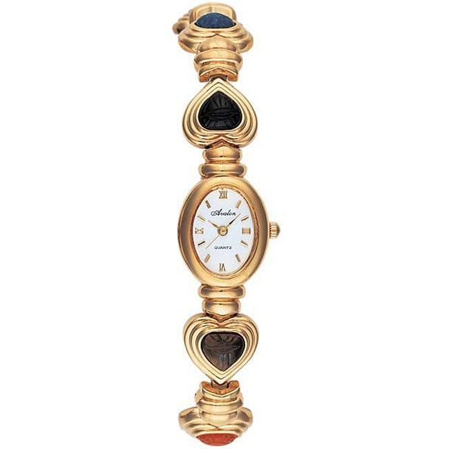Avalon Women's Goldtone Semi-precious Stone Watch
