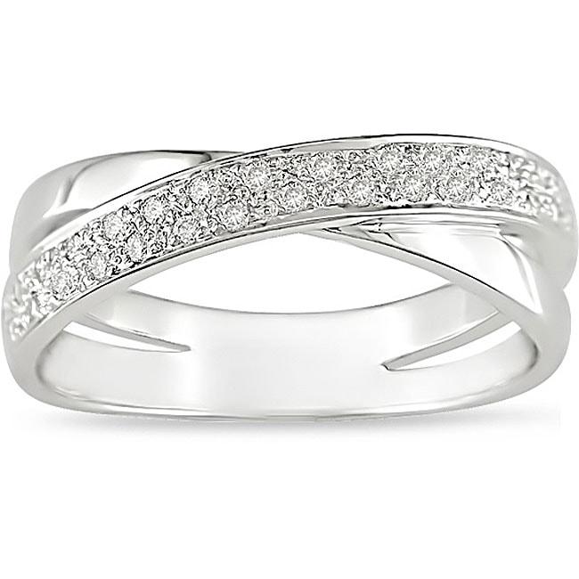 10k Gold 1/6ct TDW Diamond Criss-Cross Ring