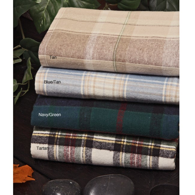 Yarn Dyed Twin-size Cotton Flannel Sheet Set