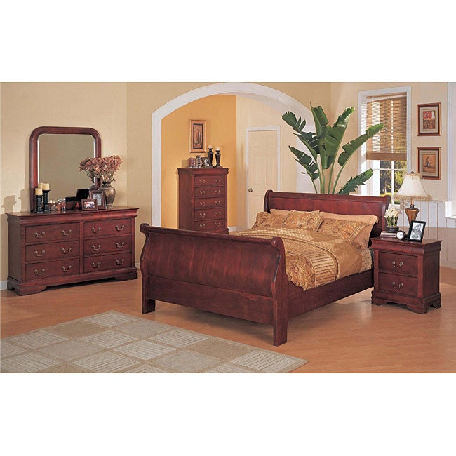 Louis Philippe Cherry 5 Piece Full Size Sleigh Bedroom Set Free Shipping Today
