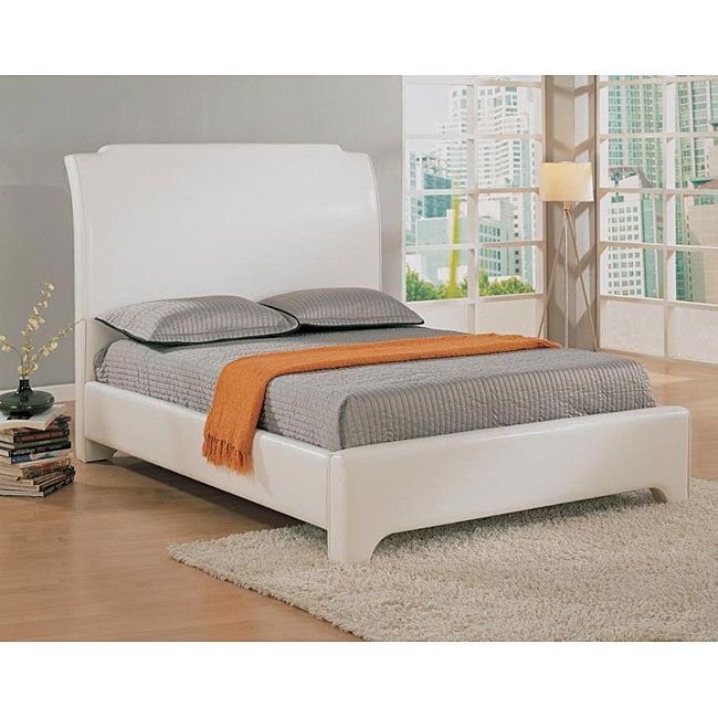 Rumba King Size Low Profile White Sleigh Bed