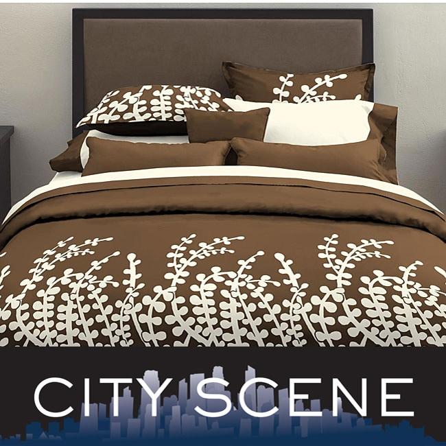 City Scene Branches Chocolate 3-piece Comforter Set