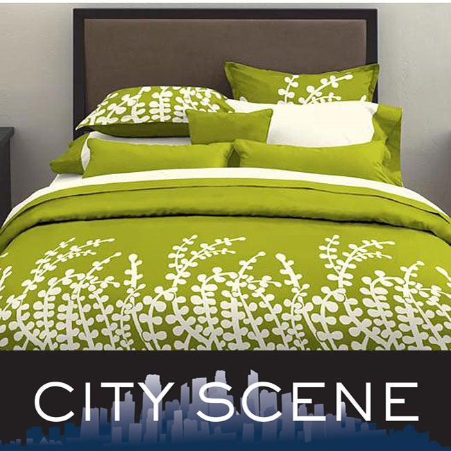 City Scene Branches Grass Green 3-piece Comforter Set