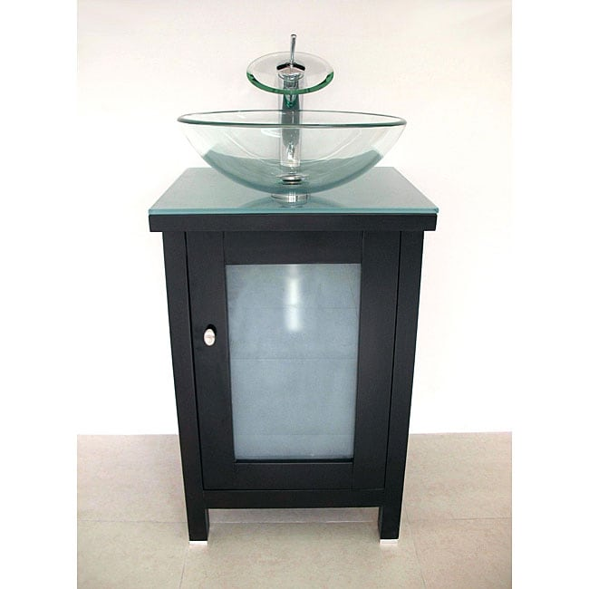 Modern Solid Wood Cabinet/ Round Glass Sink Bathroom Vanity
