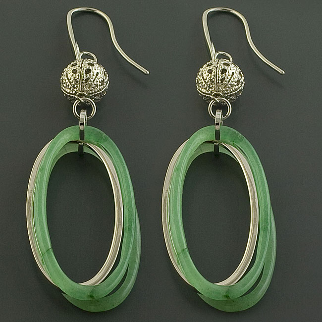 Stainless Steel and Green Resin Dangle Earrings (Italy)