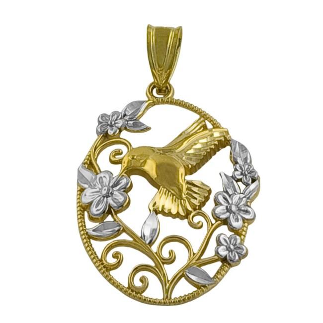 Fremada 14k Two-tone Gold Hummingbird and Flower Pendant