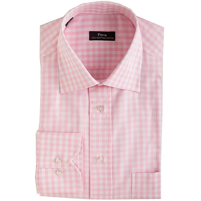 men 39 s pink gingham dress shirt free shipping on orders