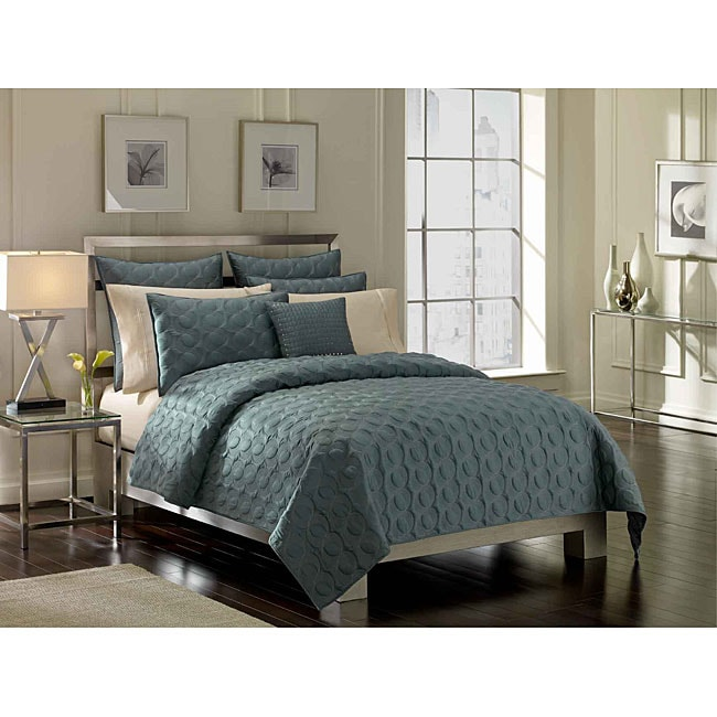 Shop Nicole Miller Lara 4 Piece Slate Blue Quilt Set