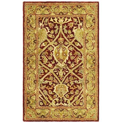 Safavieh Handmade Mahal Red/ Gold New Zealand Wool Rug (4' x 6')