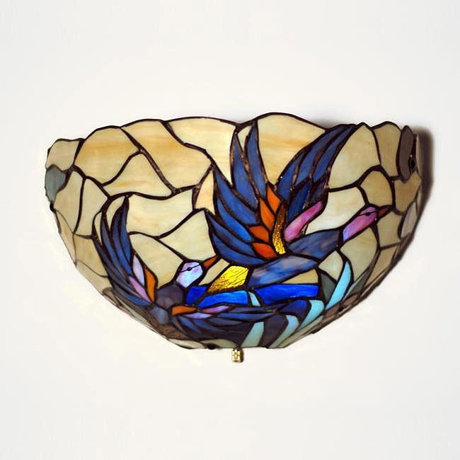 Tiffany-style Half Moon Stained Glass Mallard Accent Light