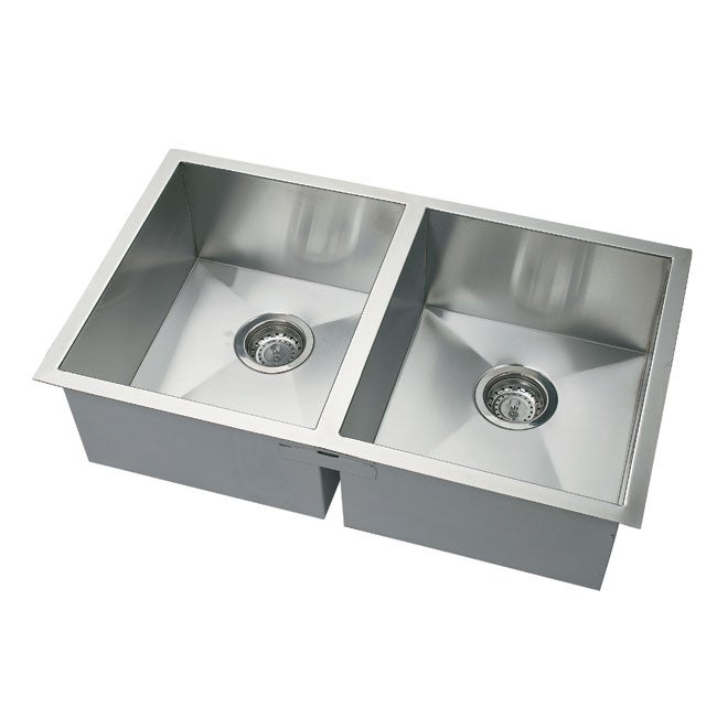 DeNovo Double square Corner Undermount Sink and Drain