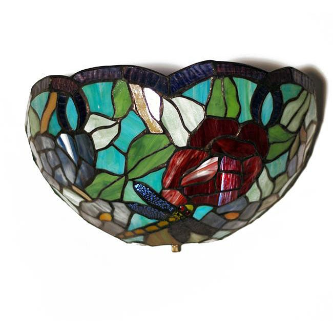 Tiffany-inspired Stained Glass Dragonfly LED Sconce Light