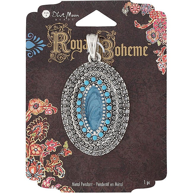 Blue Moon Royal Boheme Oval Turquoise/ Antique Silver Pendant