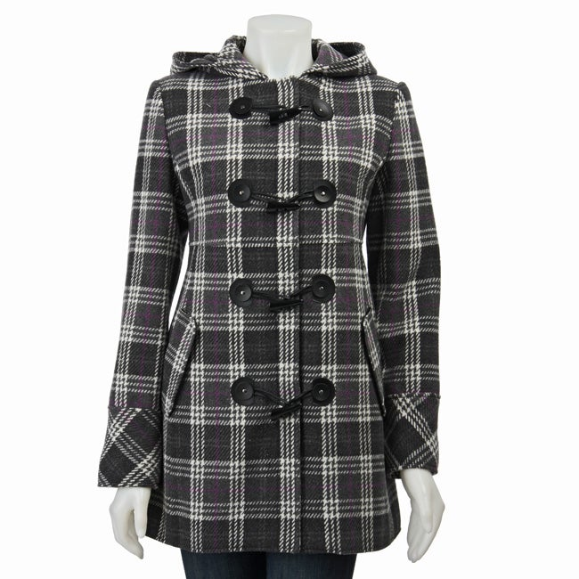 Shop Nine West Women S Grey Plaid Toggle Coat Free