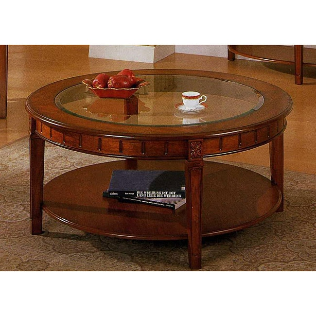 cherry finish round coffee table free shipping today 12307581. Black Bedroom Furniture Sets. Home Design Ideas