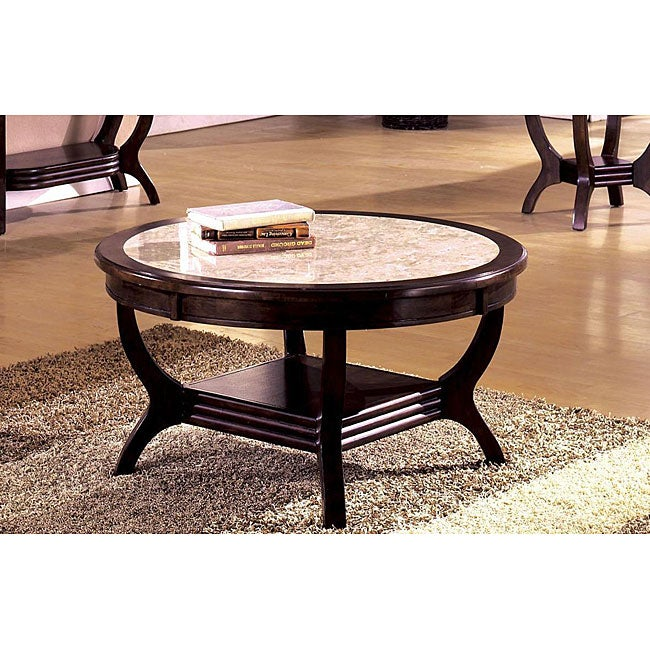 Wood Marble Top Coffee Table