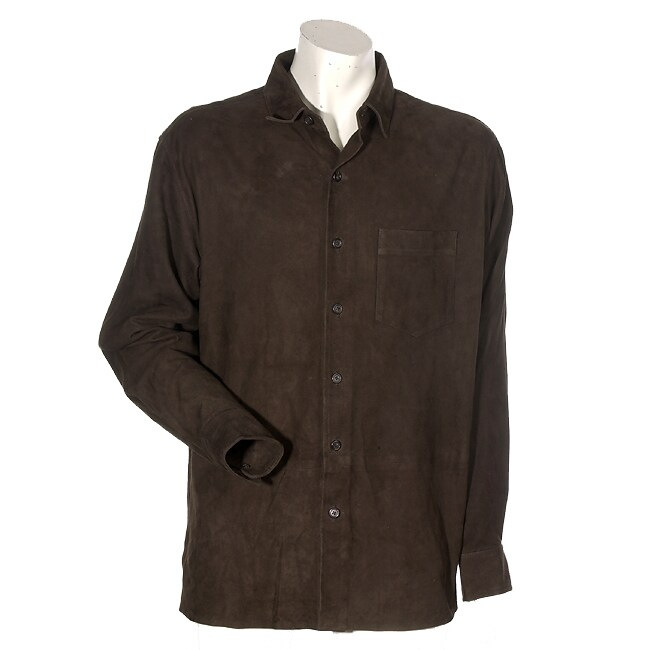 Ralph lauren men 39 s dk brown suede shirt jacket free for Mens chocolate brown dress shirt