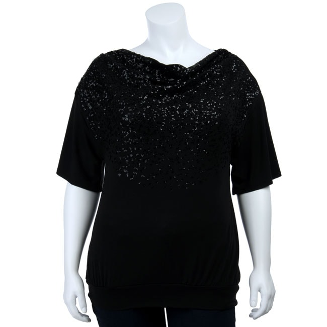 8927c579a23af Shop Sam   Max Women s Plus Size Black Sequin Drape Top - Free Shipping On  Orders Over  45 - Overstock - 4335280