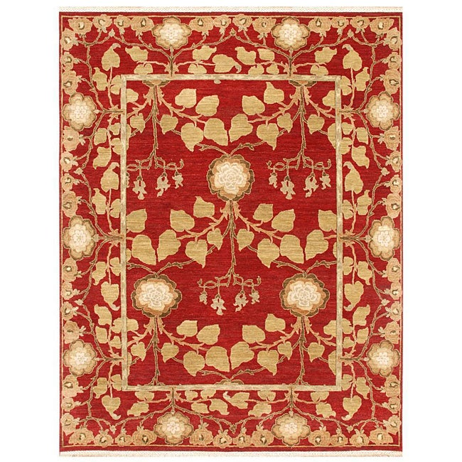 Hand-knotted Laquan Red Wool Rug (9' x 12')